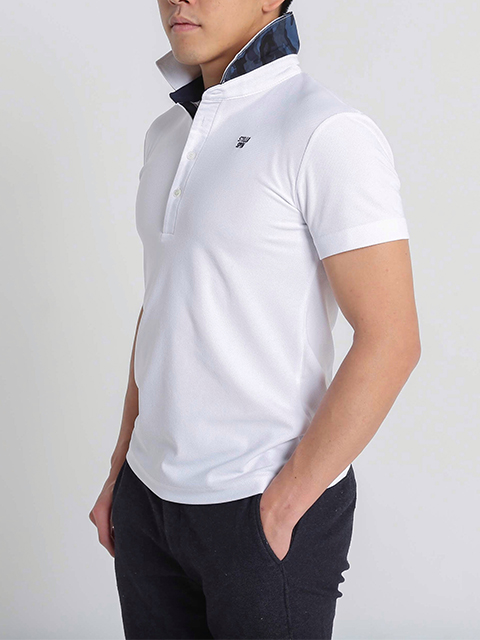 メンズ迷彩カラーポロシャツ ホワイト
