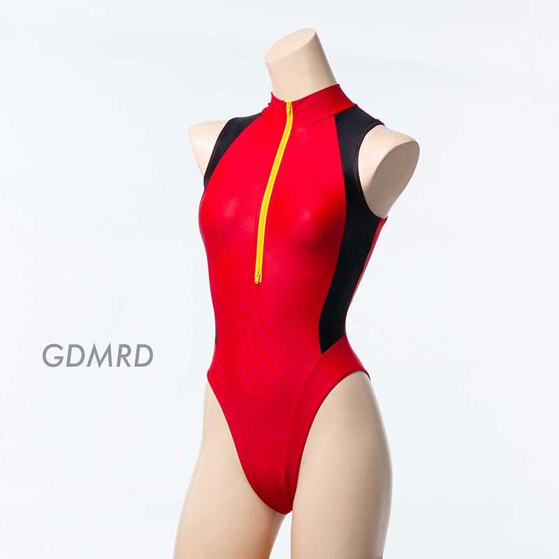REALISE(リアライズ)【N-0376_big】競泳水着 コスチューム カラーパネルフロントジッパースイムスーツ(Wカレンダー加工)4Lサイズ 【送料無料】