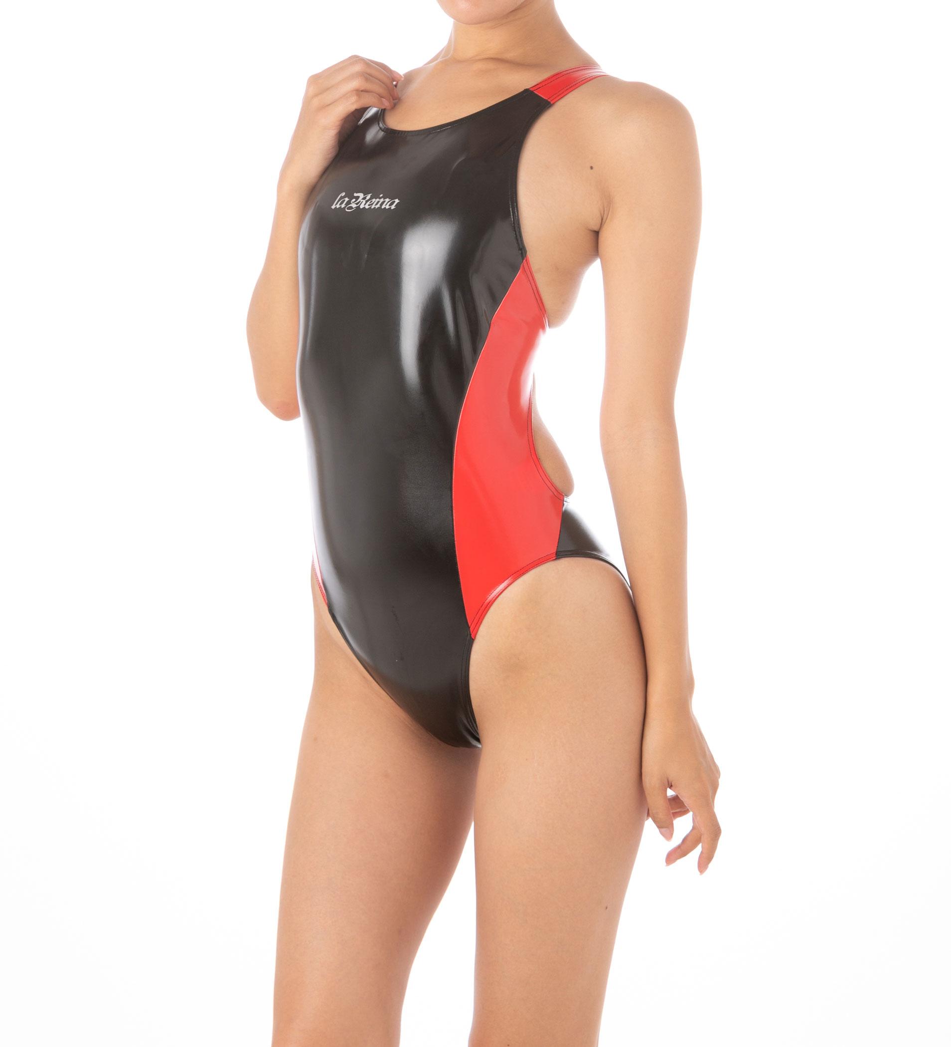 LaReina(ラ・レイナ)【RN-301_big】ダブルカラーワンピース競泳水着コスチューム エナメル素材  4Lサイズ【送料無料】