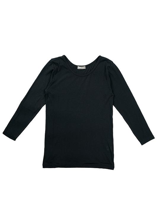 ラウンドネック9分袖Tシャツ(ブラック)