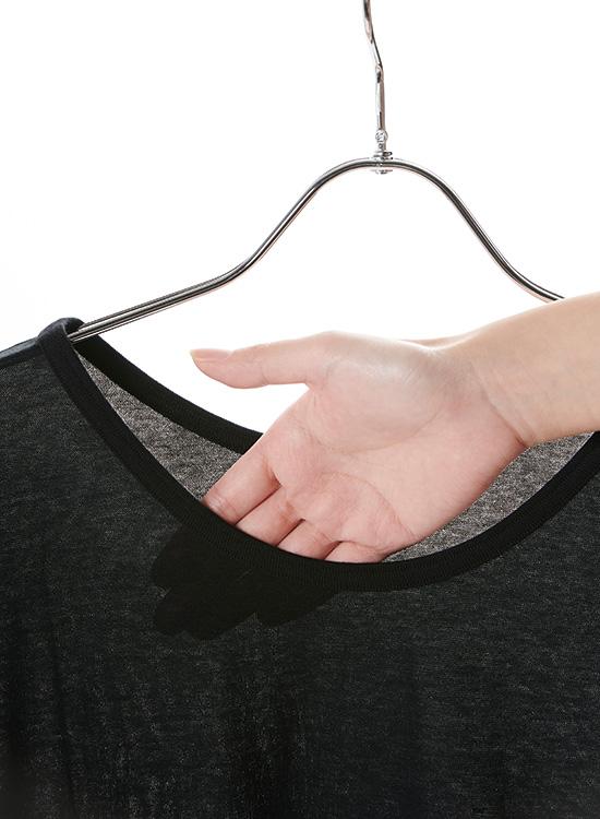 【20%OFF】スマイルコットン ガーゼ天竺 ラウンドネック9分袖Tシャツ(ブラック)