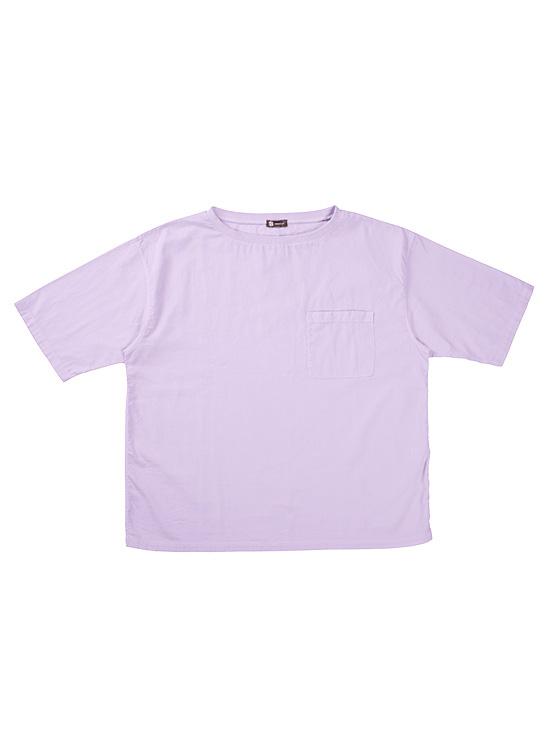 ボタニカルダイ 綿ちぢみTシャツ(ラベンダー)