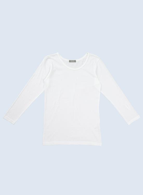 【20%OFF】スマイルコットン ガーゼ天竺 ラウンドネック9分袖Tシャツ(オフ)