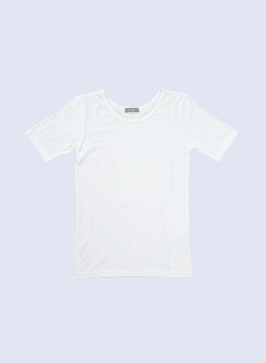 ラウンドネック半袖Tシャツ(オフ)
