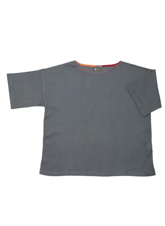 ボートネックTシャツ(チャコール)