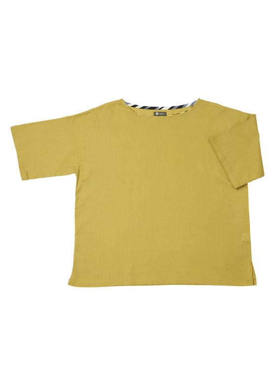 【ポイント2倍】ボートネックTシャツ(マスタード)