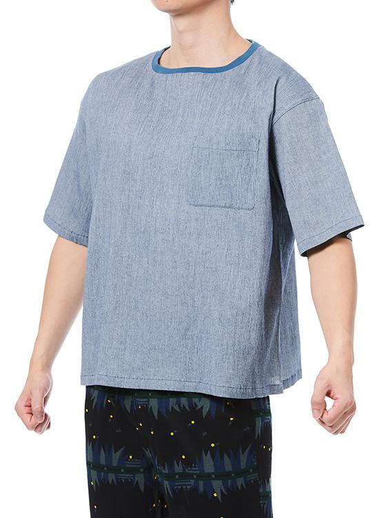綿ちぢみTシャツ(ネイビー杢)