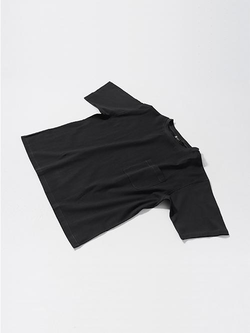 綿ちぢみTシャツ(ブラック)