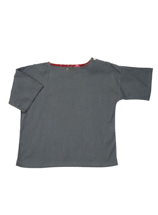 キッズ ボートネックTシャツ(チャコール)