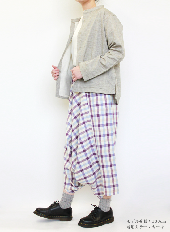 【30%OFF】2重ガーゼ シャツジャケット(カーキ)
