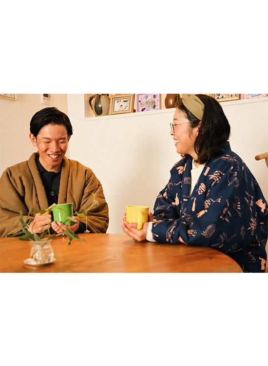宮田織物×steteco.com 袢纏 - はんてん(カーキ)