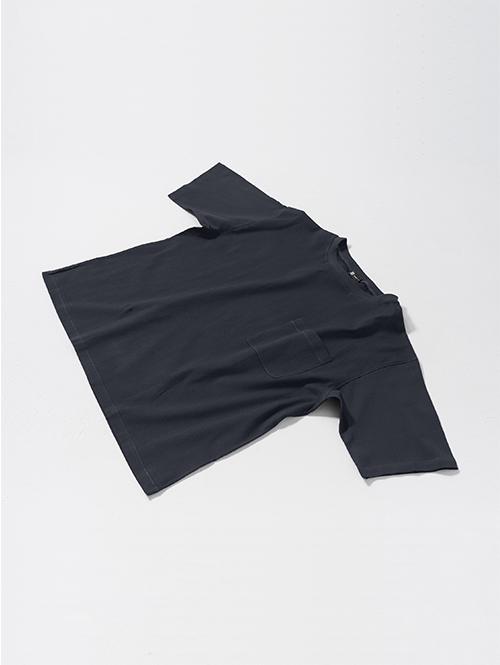 【ポイント2倍】綿ちぢみTシャツ(ネイビー)