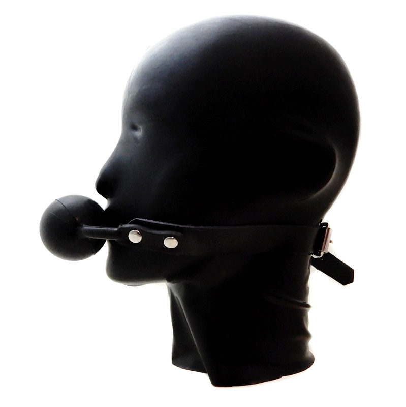 【HONOUR】Silicone Ball Gag with Leather Strap[Black]