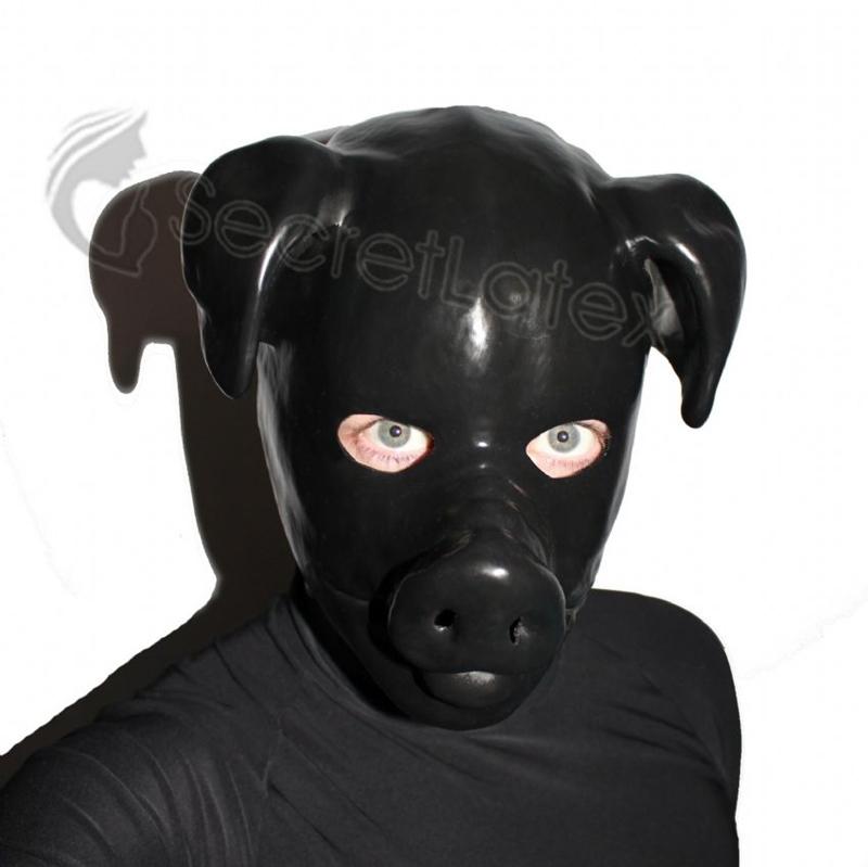 【Secret Latex】Pig Hood[Black][One Size]