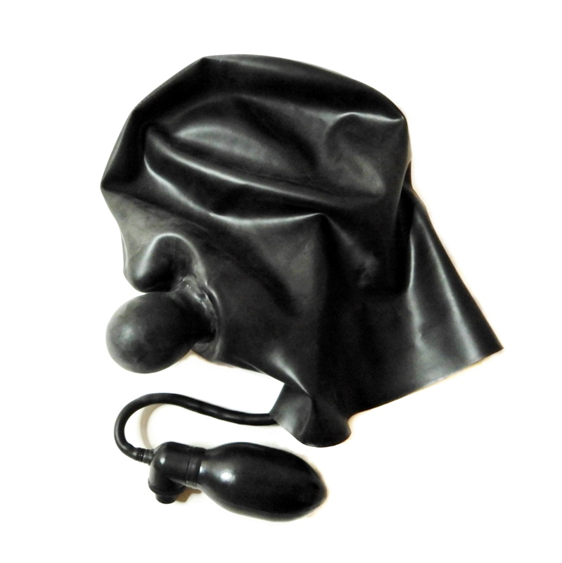 【Latex Moscow】Anatomical Latex Mask with Pump Gag[M][L][XL][Black×Red]