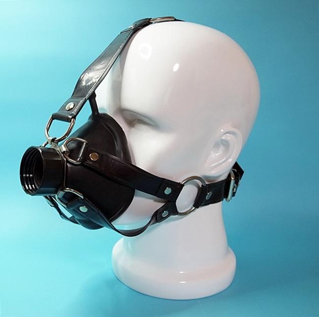【Rubber Magic】Latex - breath mask with head harness [BLACK]