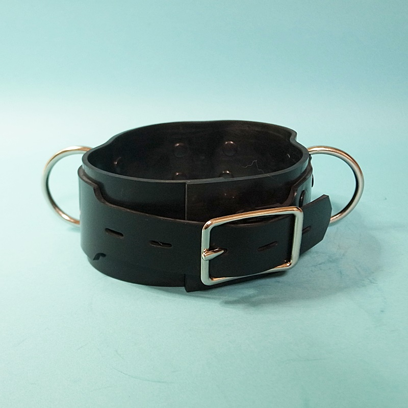 【Bizarre-Rubber-Shop】Collar 5.5w with 3 D-Rings[Black][L]