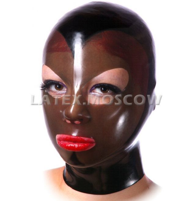 【Latex Moscow】Anatomical Latex Mask[XL][Black×Semi Transparent Smoky ]
