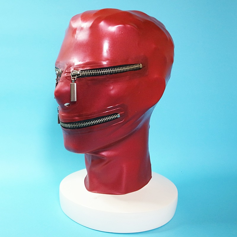 【Latex Moscow】Anatomical Latex Mask with Zippers[Metallic Red]