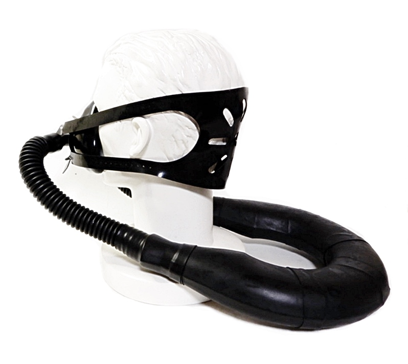 【Rubber Shop】Neck-smellbag Respirator Mask-System with T-joint and Head-Harness