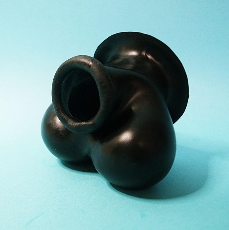 【Bizarre-Rubber-Shop】Testicle Preservative Anatomically, Rolled Black Rubber[Black]