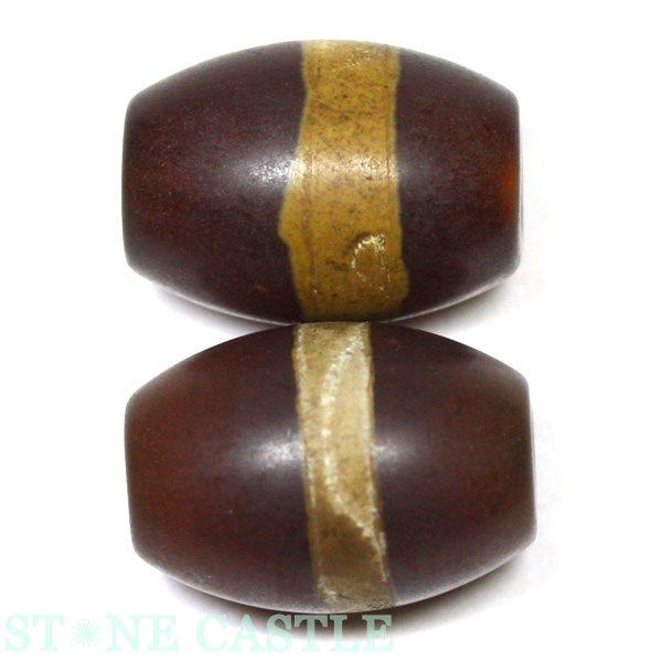 【天珠ビーズ】老天珠1.4cm 線珠 (一本線)