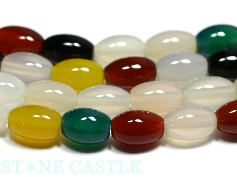 【カットビーズ】マルチメノウ 米型 約6×9mm (数量限定商品)