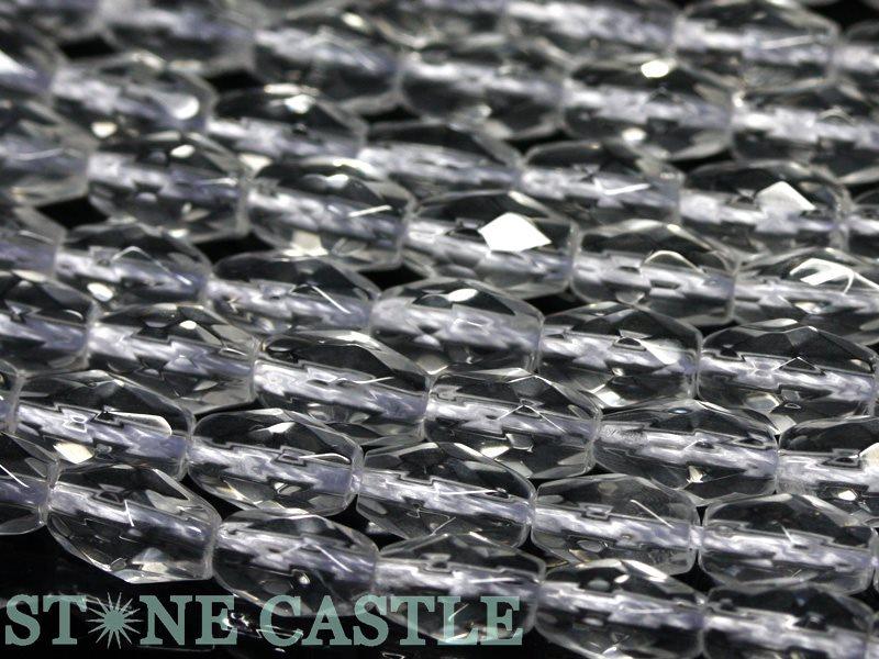【カットビーズ】天然水晶 米型カット 約5×8mm