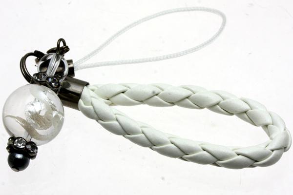 【ストラップ】革ひも編み込みストラップ (白ひも) 水晶 蛇 (白彫り)12mm