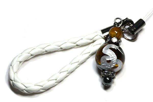 【ストラップ】革ひも編み込みストラップ (白ひも) タイガーアイ 蛇 (銀彫り)12mm