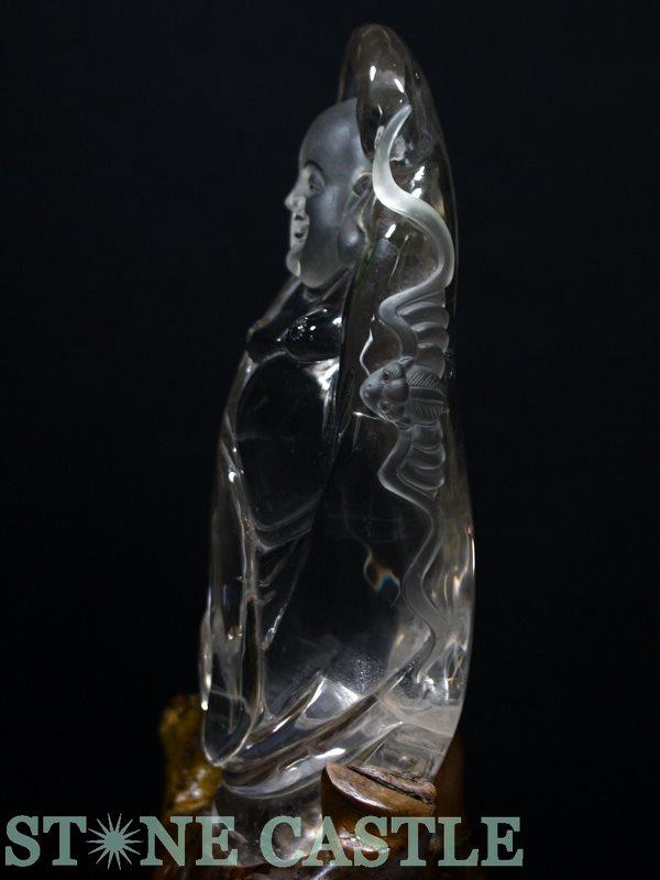 ☆置物一点物☆【彫刻置物】布袋 水晶 (台付) No.02