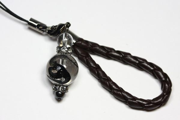 【ストラップ】革ひも編み込みストラップ (茶ひも) 水晶12mm 蛇