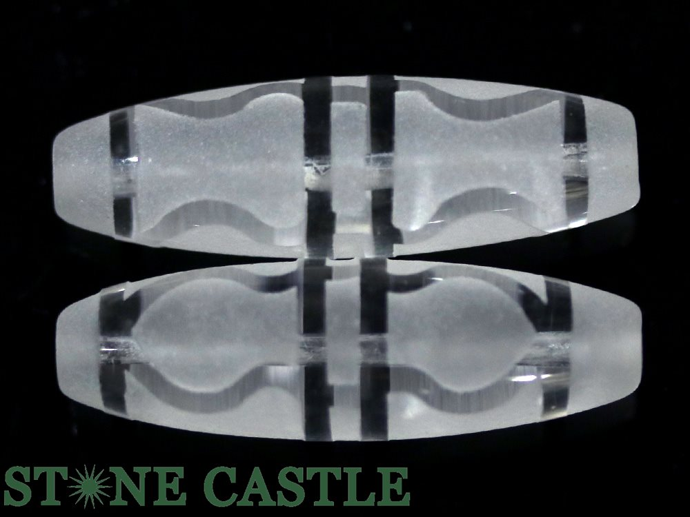 【彫刻ビーズ】水晶 (素彫り) 「太鼓型」 3.8cm 金剛杵
