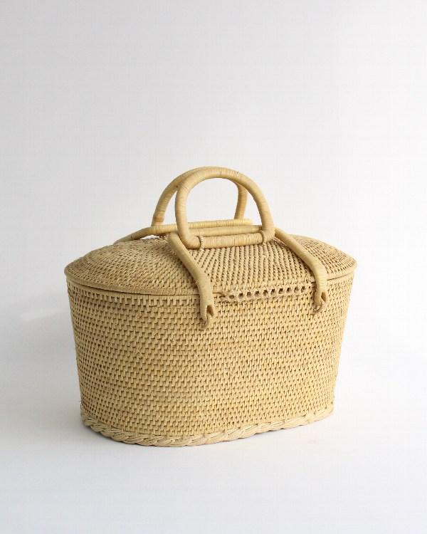 籐製バスケット オーバル M