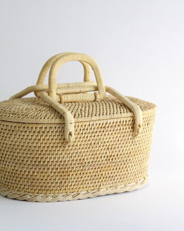 籐製バスケット オーバル S