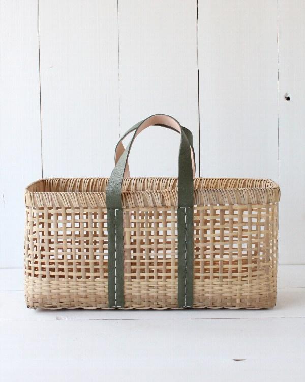 warang wayan(ワランワヤン) amiami革手バスケット オリーブ L