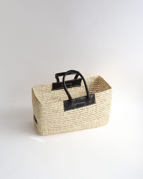 WARANGWAYAN(ワランワヤン) 蓋付き革手バスケット M ブラック