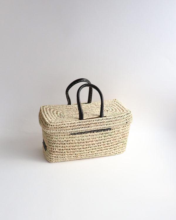 WARANGWAYAN(ワランワヤン) 蓋付き革手バスケット S ブラック