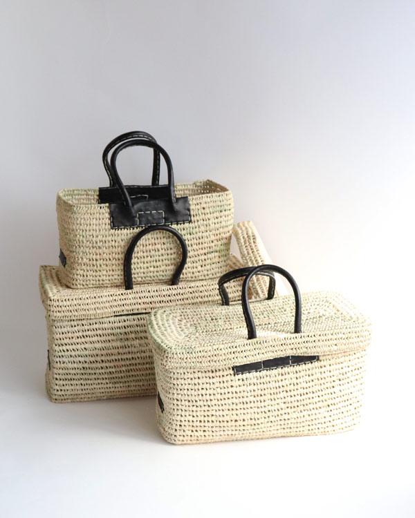 WARANGWAYAN(ワランワヤン) 蓋付き革手バスケット L ブラック