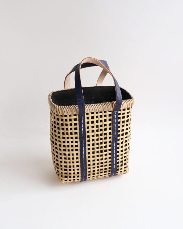 warang wayan(ワランワヤン) Bamboo amiami 四角バスケット ネイビー S