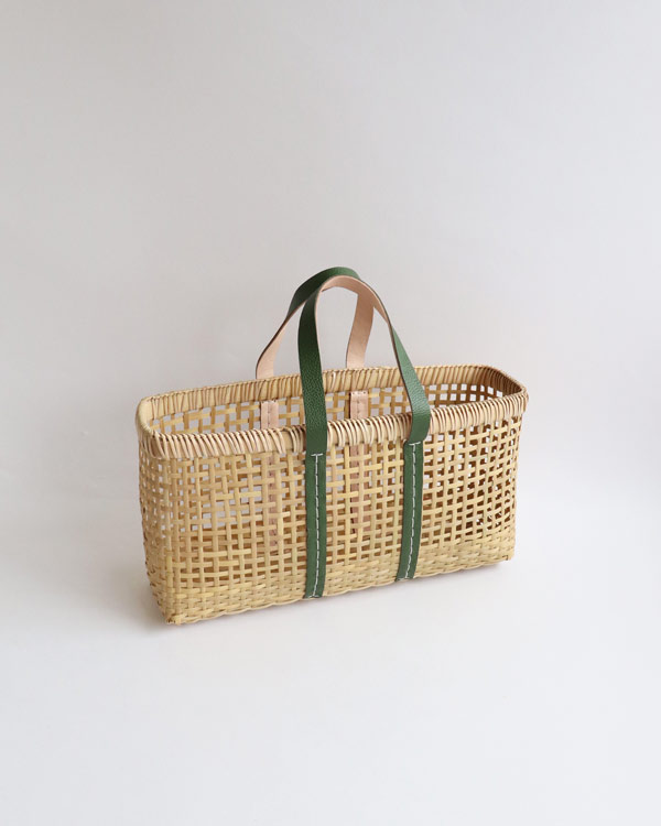 warang wayan(ワランワヤン) amiami革手バスケット オリーブ M