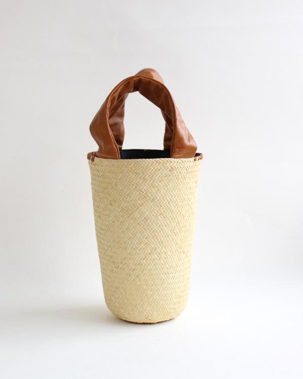 warang wayan(ワランワヤン) FUTO ラタン革手バスケット キャメル S