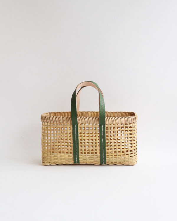 warang wayan(ワランワヤン) amiami革手バスケット オリーブ S