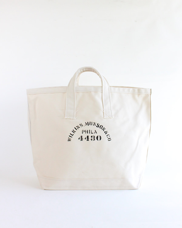 LABOR DAY Stenciled Coal Bag / Natural Large A
