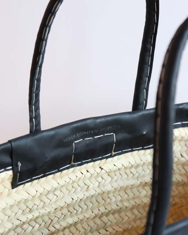 WARANGWAYAN(ワランワヤン) 革縁革手マルシェバスケット 浅型 ブラック