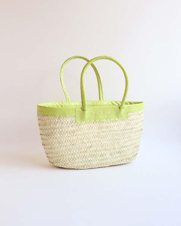 WARANGWAYAN(ワランワヤン) 革縁革手マルシェバスケット 浅型 ライムグリーン