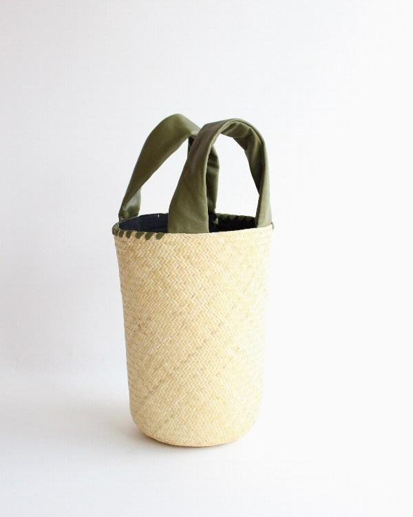 warang wayan(ワランワヤン) FUTO ラタン革手バスケット オリーブ S