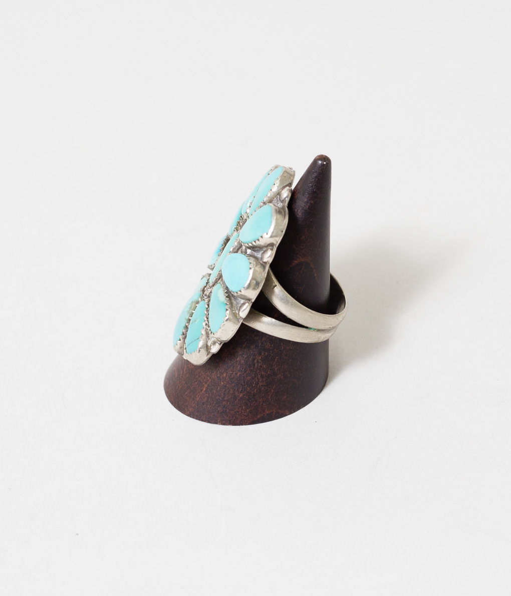 70'S ZUNI TURQUOISE CLUSTER RING 1