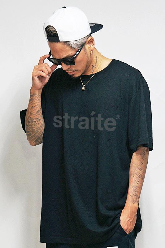 【予約制】限定スモールレターネームTシャツ(ブラックxブラック)[STRAITE]