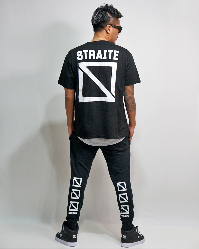 Front Name Square Logo T-shirts (BLACK/XXL-SIZE) 【STRAITE】